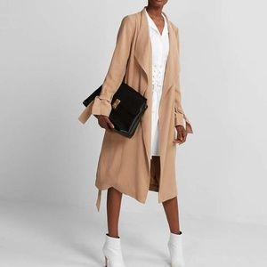 new EXPRESS drape tie trench coat jacket xxs